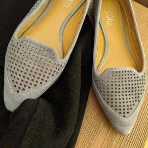 Franco Sarto perforated pointed toe suede flat